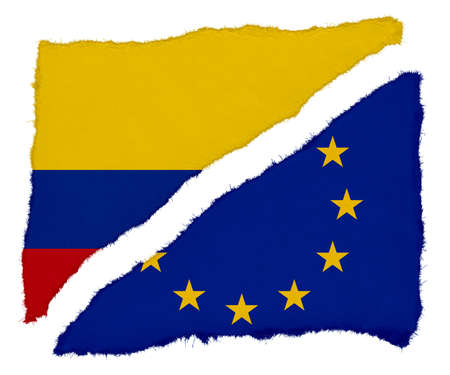 scraps: Colombian and EU Flag Torn Paper Scraps Isolated on White Background