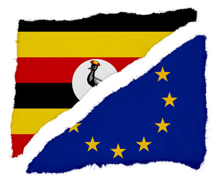 ugandan: Ugandan and EU Flag Torn Paper Scraps Isolated on White Background