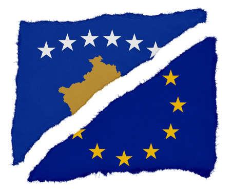 eu flag: Kosovan and EU Flag Torn Paper Scraps Isolated on White Background Stock Photo