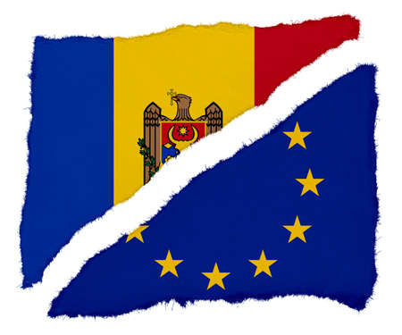 moldovan: Moldovan and EU Flag Torn Paper Scraps Isolated on White Background