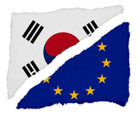 scraps: South Korean and EU Flag Torn Paper Scraps Isolated on White Background