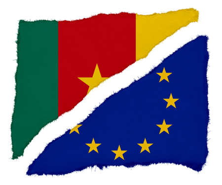 scraps: Cameroonian and EU Flag Torn Paper Scraps Isolated on White Background Stock Photo