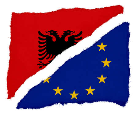 scraps: Albanian and EU Flag Torn Paper Scraps Isolated on White Background Stock Photo