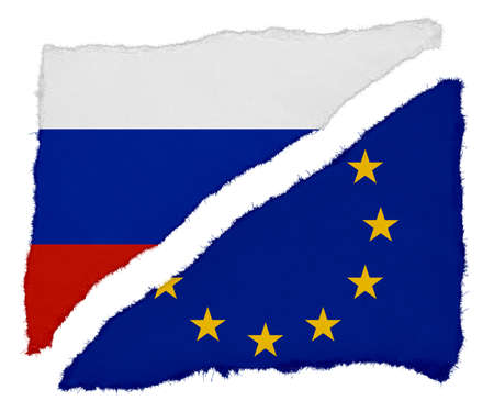 eu flag: Russian and EU Flag Torn Paper Scraps Isolated on White Background