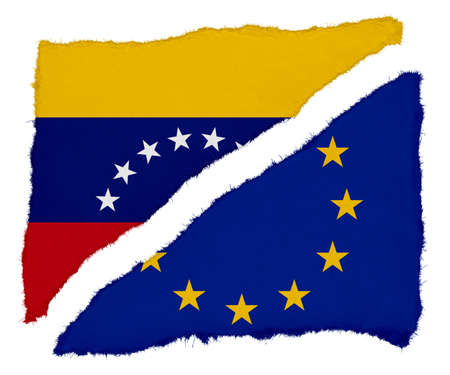 scraps: Venezuelan and EU Flag Torn Paper Scraps Isolated on White Background