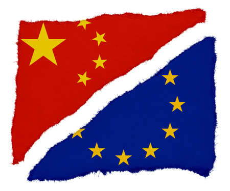 scraps: Chinese and EU Flag Torn Paper Scraps Isolated on White Background Stock Photo