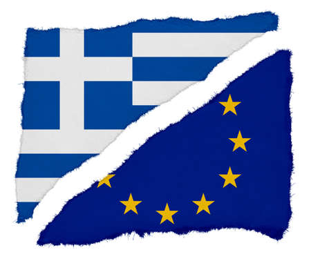 eu flag: Greek and EU Flag Torn Paper Scraps Isolated on White Background