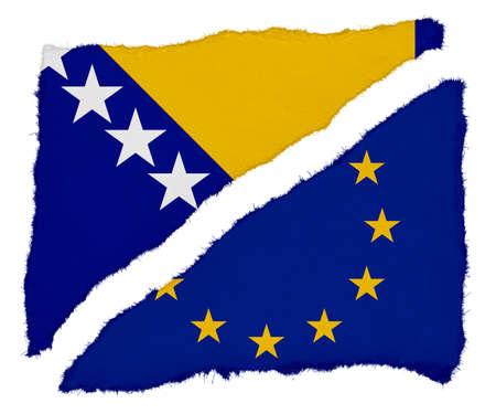 bosnia and herzegovina flag: Bosnia Herzegovina and EU Flag Torn Paper Scraps Isolated on White Background Stock Photo