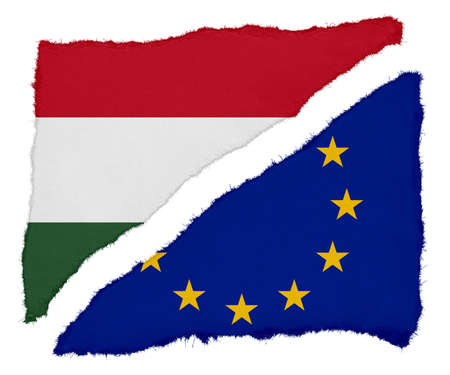 scraps: Hungarian and EU Flag Torn Paper Scraps Isolated on White Background Stock Photo
