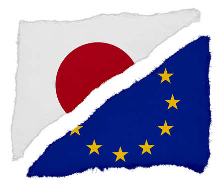 scraps: Japanese and EU Flag Torn Paper Scraps Isolated on White Background