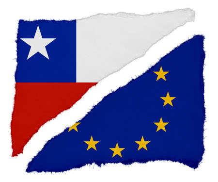chilean: Chilean and EU Flag Torn Paper Scraps Isolated on White Background