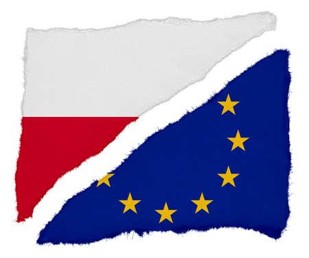 polish flag: Polish and EU Flag Torn Paper Scraps Isolated on White Background Stock Photo