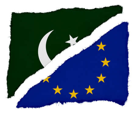 scraps: Pakistani and EU Flag Torn Paper Scraps Isolated on White Background
