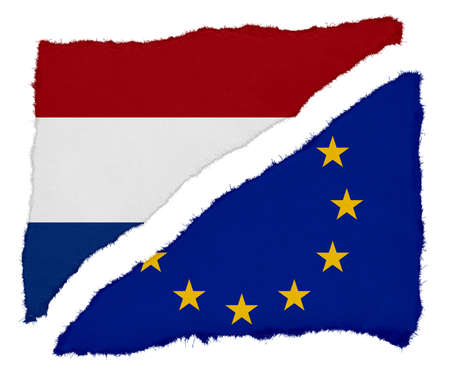 scraps: Dutch and EU Flag Torn Paper Scraps Isolated on White Background Stock Photo