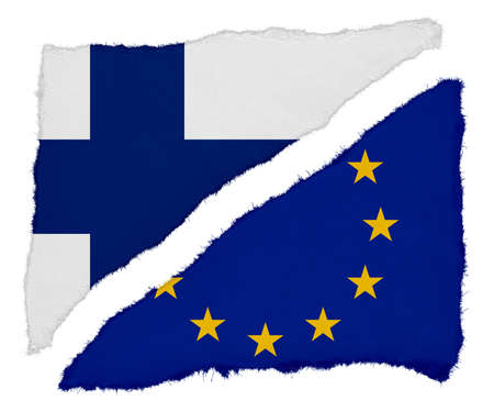 scraps: Finnish and EU Flag Torn Paper Scraps Isolated on White Background Stock Photo