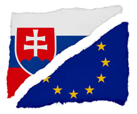 eu flag: Slovakian and EU Flag Torn Paper Scraps Isolated on White Background Stock Photo