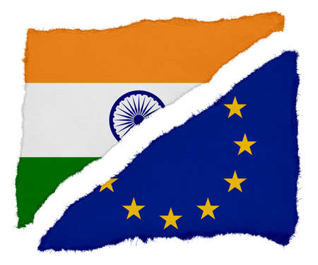 scraps: Indian and EU Flag Torn Paper Scraps Isolated on White Background