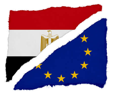 scraps: Egyptian and EU Flag Torn Paper Scraps Isolated on White Background