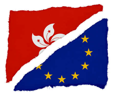 scraps: Hong Kongese and EU Flag Torn Paper Scraps Isolated on White Background