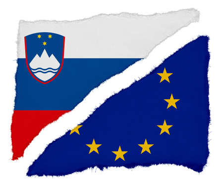 slovenian: Slovenian and EU Flag Torn Paper Scraps Isolated on White Background Stock Photo