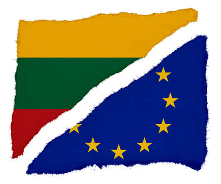 scraps: Lithuanian and EU Flag Torn Paper Scraps Isolated on White Background Stock Photo