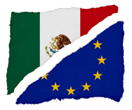 scraps: Mexican and EU Flag Torn Paper Scraps Isolated on White Background