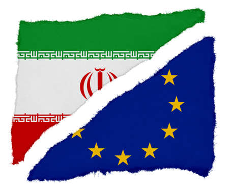 eu flag: Iranian and EU Flag Torn Paper Scraps Isolated on White Background