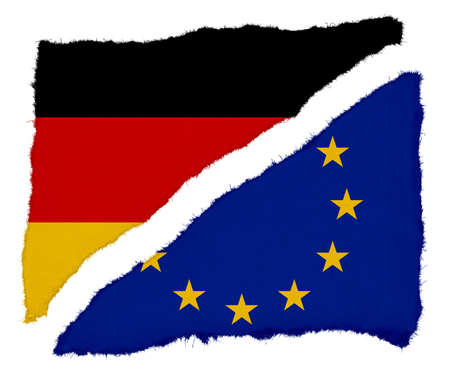 eu flag: German and EU Flag Torn Paper Scraps Isolated on White Background