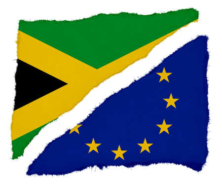 scraps: Jamaican and EU Flag Torn Paper Scraps Isolated on White Background
