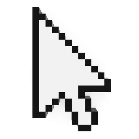 three pointer: Arrow Cursor Pixelated Black and White Computer Pointer 3D Illustration