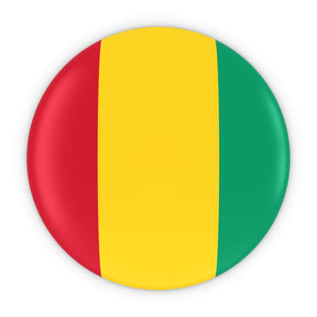 three dimensional shape: Guinean Flag Button - Flag of Guinea Badge 3D Illustration Stock Photo