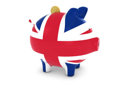 uk flag: UK Flag Piggy Bank with Gold Pound Coin 3D Illustration