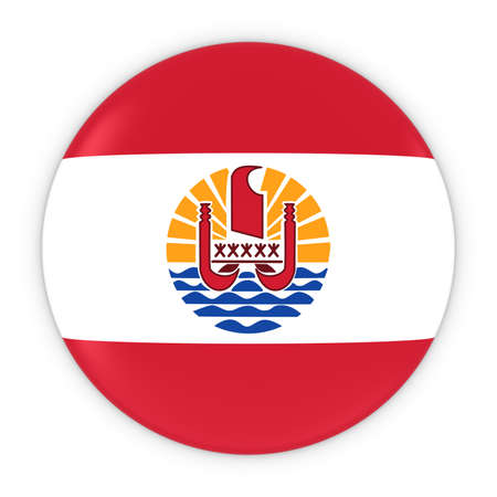 tahiti: Tahitian Flag Button - Flag of Tahiti Badge 3D Illustration Stock Photo