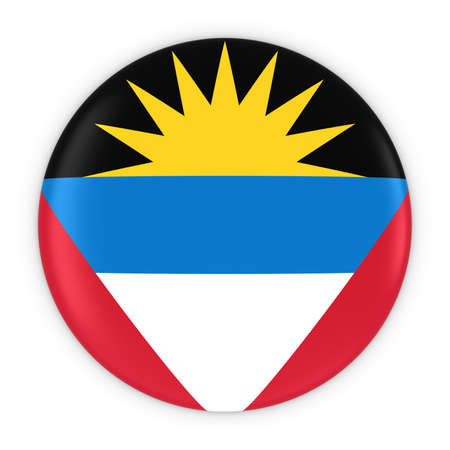 antigua: Antiguan and Barbudan Flag Button - Flag of Antigua and Barbuda Badge 3D Illustration