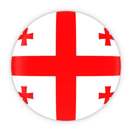 georgian: Georgian Flag Button - Flag of Georgia Badge 3D Illustration