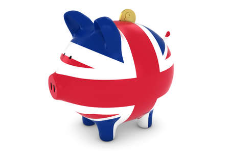 pound coin: UK Flag Piggy Bank with Gold Pound Coin 3D Illustration