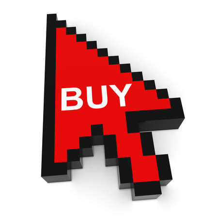 pixelated: Online Shopping Pixelated Arrow Cursor with Buy Text 3D Illustration