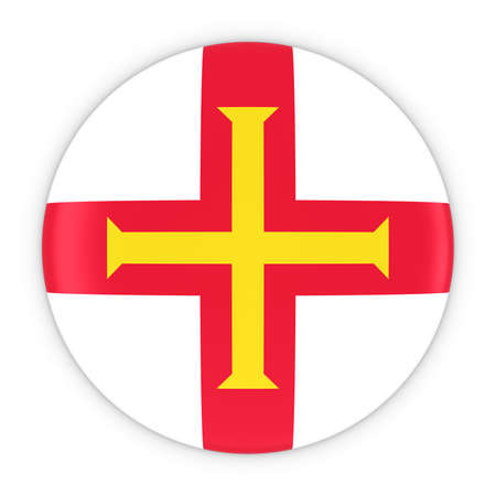 guernsey: Channel Islands Flag Button - Flag of Guernsey Badge 3D Illustration Stock Photo