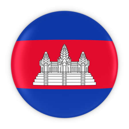 cambodian flag: Cambodian Flag Button - Flag of Cambodia Badge 3D Illustration