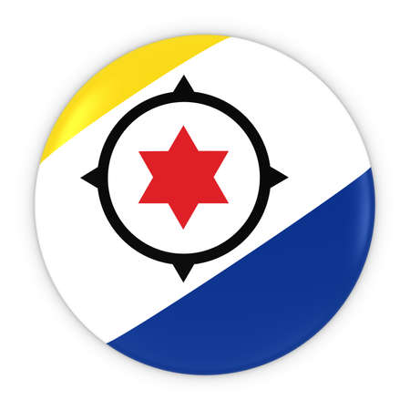 bonaire: Bonaire Flag Button - Flag of Bonaire Badge 3D Illustration Stock Photo