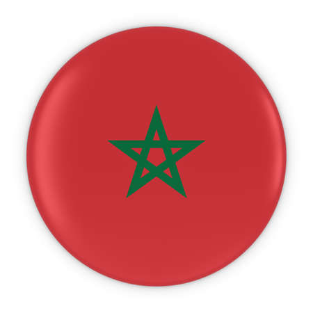 three dimensional shape: Moroccan Flag Button - Flag of Morocco Badge 3D Illustration