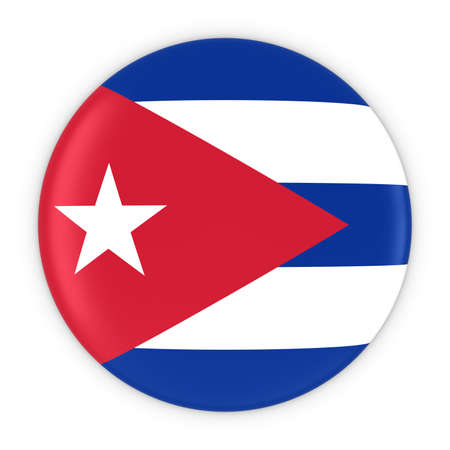 cuban flag: Cuban Flag Button - Flag of Cuba Badge 3D Illustration Stock Photo