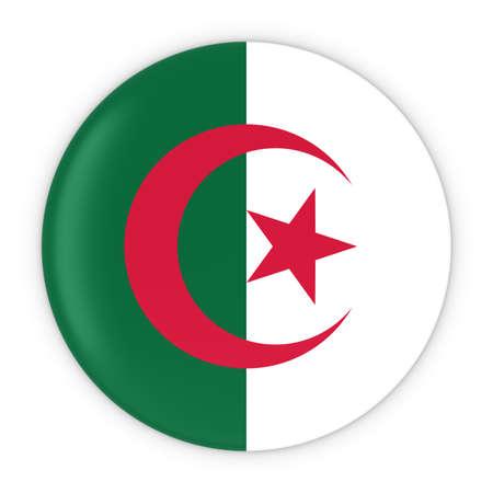 algerian flag: Algerian Flag Button - Flag of Algeria Badge 3D Illustration Stock Photo