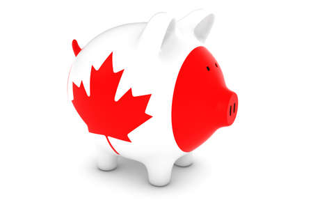 canadian flag: Canadian Currency Concept - Canadian Flag Piggy Bank 3D Illustration Stock Photo