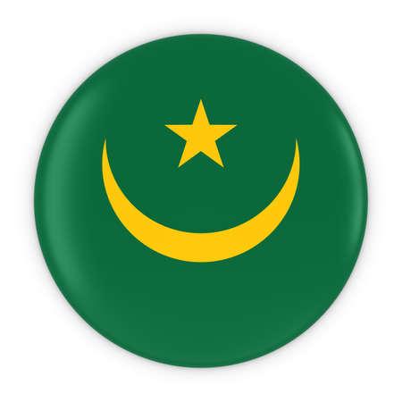 mauritania: Mauritanian Flag Button - Flag of Mauritania Badge 3D Illustration