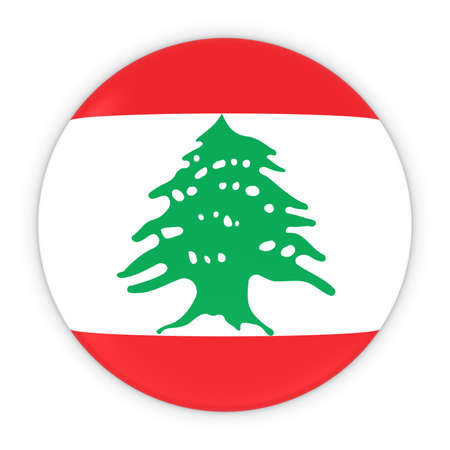 lebanese: Lebanese Flag Button - Flag of Lebanon Badge 3D Illustration