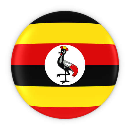 ugandan: Ugandan Flag Button - Flag of Uganda Badge 3D Illustration