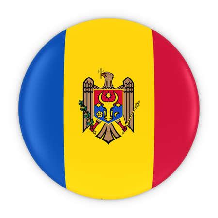 moldovan: Moldovan Flag Button - Flag of Moldova Badge 3D Illustration Stock Photo