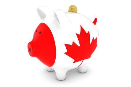 canadian coin: Canadian Flag Piggy Bank with Gold Dollar Coin 3D Illustration Stock Photo