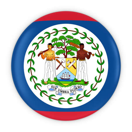 belize: Belizean Flag Button - Flag of Belize Badge 3D Illustration